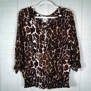 Ariat Leopard Print Blouse Top Rayon Plus XXL